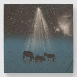 Christmas, Religious, Nativity, Stars Stone Coaster