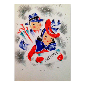 Christmas retro couple Holiday Vintage poster