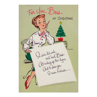 Christmas retro office party decor poster