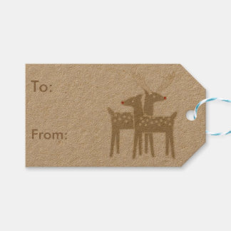 christmas retro reindeer gift tags