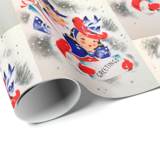Christmas retro Vintage couple party wrap Wrapping Paper