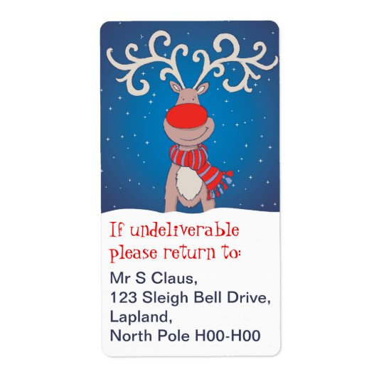 Christmas return address labels blue