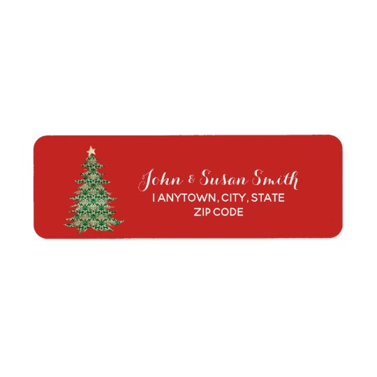 christmas return address labels red green tree