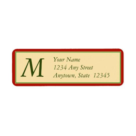 Christmas Return Address Labels w/ Monogram