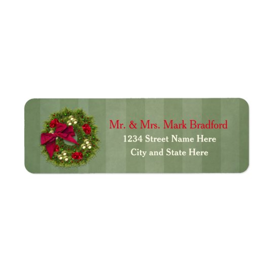 Christmas Return Labels - Christmas Wreath