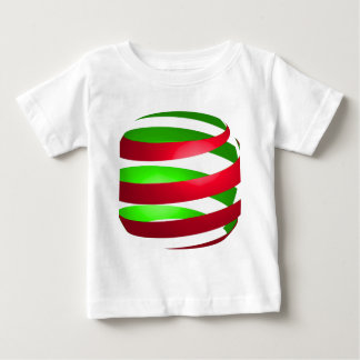Christmas Ribbon Sphere Red Green Baby T-Shirt