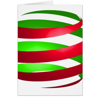 Christmas Ribbon Sphere Red Green Card