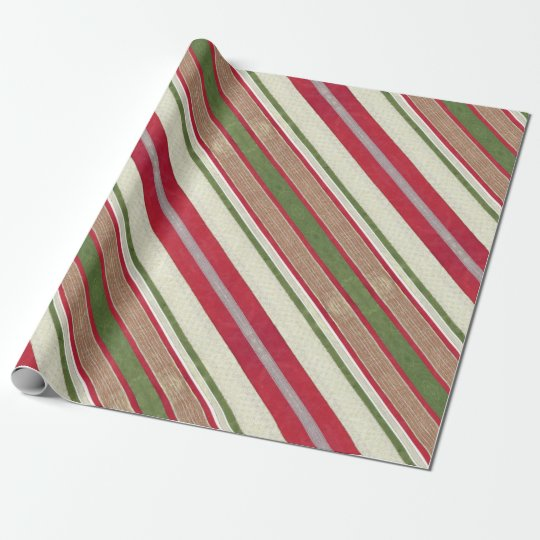 Christmas Ribbon Wrapping Paper | Red Green Stripe