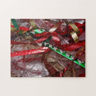 Christmas Ribbons Red Green and Gold Holiday Jigsaw Puzzles