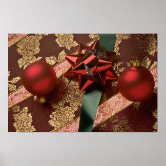 Christmas ribbons with red ornaments, green ribbon print