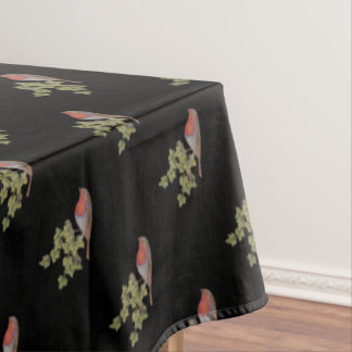 Christmas Robin and ivy leaves illustration black Tablecloth