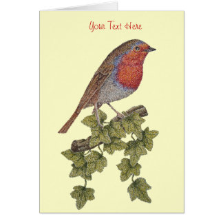 Christmas Robin and ivy leaves illustration Stationery Note Card