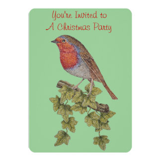 Christmas robin and ivy leaves illustration 13 cm x 18 cm invitation card