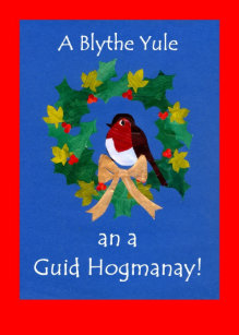 Hogmanay cards zazzle uk christmas robin card with scots greeting m4hsunfo