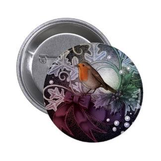 Christmas Robin Pinback Button
