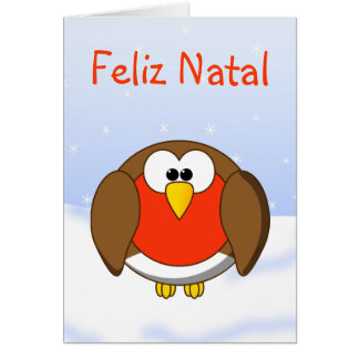 Christmas Robin Redbreast in Portuguese Language Card