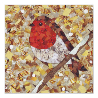 Christmas Robin Square Greetings Card, Blank Card