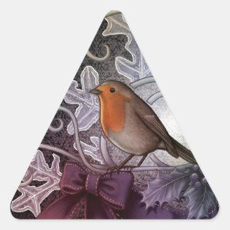 Christmas Robin Triangle Sticker