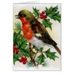 Christmas Robin Vintage Illustration Greeting Card