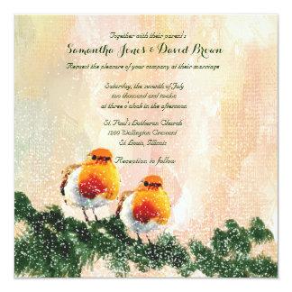 Christmas Robins Custom Wedding Invitation