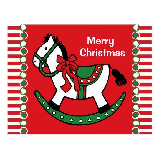 Christmas Rocking Horse Custom Postcard