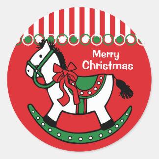 Christmas Rocking Horse Custom Round Sticker