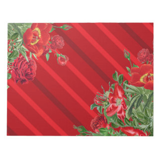 Christmas Rose Peony Flowers Floral Note Pad