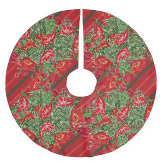 Christmas Rose Peony Flowers Floral Tree Skirt Brushed Polyester Tree Skirt