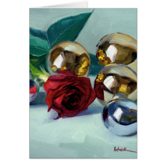Christmas rose, silver, and gold card