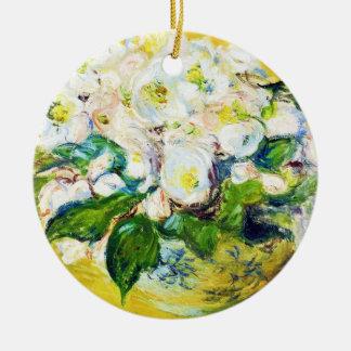 Christmas Roses Claude Monet flowers floral paint Christmas Ornament