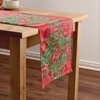 Christmas Roses Peony Flowers Stripes Table Runner