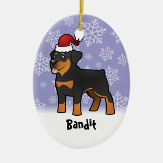 Christmas Rottweiler (add your pets name) Christmas Ornament