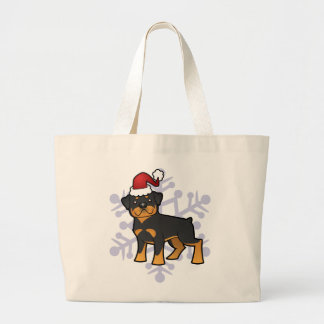 Christmas Rottweiler Large Tote Bag