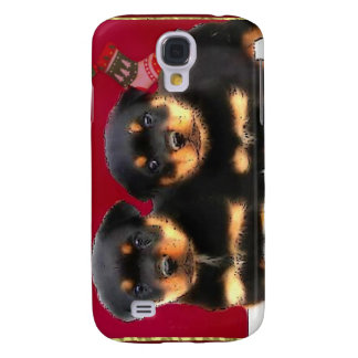 Christmas Rottweiler puppies Samsung Galaxy S4 Cover