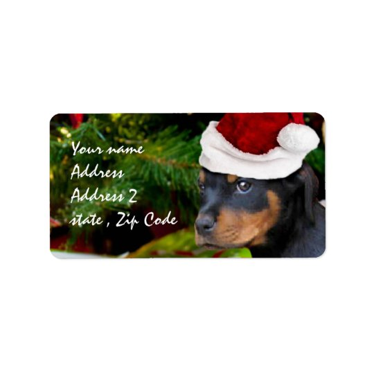 Christmas Rottweiler puppy Address Label