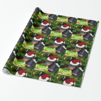 Christmas Rottweiler puppy wrapping paper