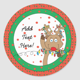 Christmas Round Stickers Rudolph Personalise
