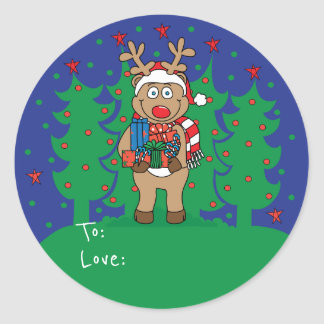 """Christmas Round Stickers """"Rudolph"""" Personalise"""