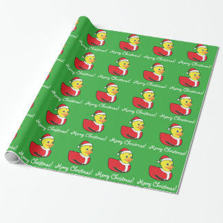 Christmas Rubber Ducky in Santa Outfit Wrapping Paper