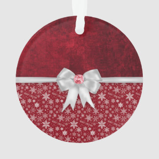 Christmas Ruby Red Grunge Ornament