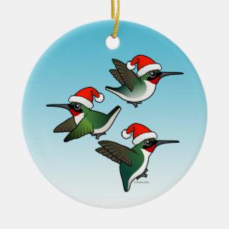 Christmas Ruby-throated Hummingbirds Christmas Ornament