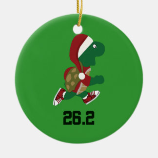 Christmas Running Turtle 26.2 Christmas Ornament
