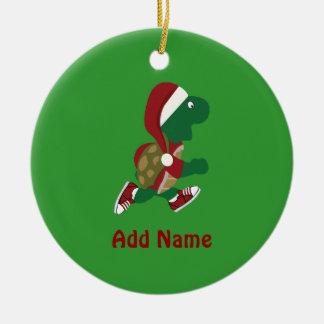 Christmas Running Turtle Christmas Ornament