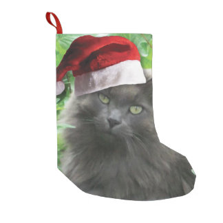 Christmas Russian Blue Cat Small Christmas Stocking