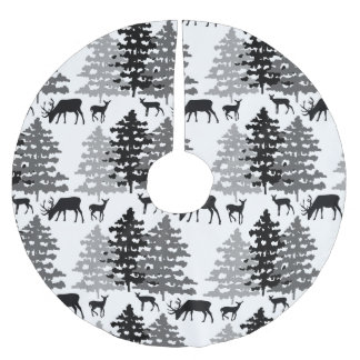 Christmas Rustic Deer Winter Woodland Pine Trees Brushed Polyester Tree Skirt