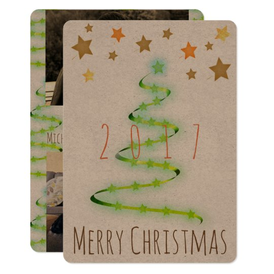Christmas Rustic Modern Tree Photo Card 2 Pics