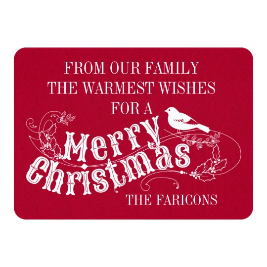 Christmas rustic typography vintage red holiday card