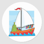 Christmas Sailing Classic Round Sticker