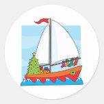 Christmas Sailing Round Sticker