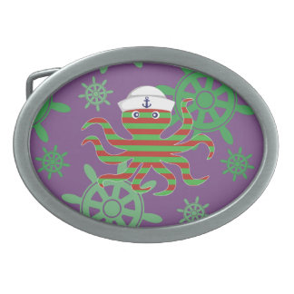 Christmas sailor baby octopus on purple background belt buckles